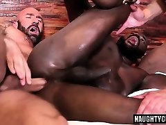 Steaming gay threesome with creampie