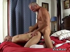 Pierced furry daddy having bareback hook-up