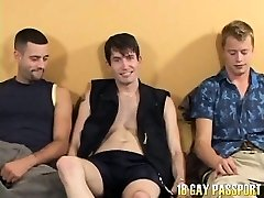 Pierced brunette gay Rob getting nailed by 2 beautiful