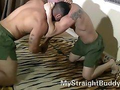 Straight Marine Buddies Wrestling Naked