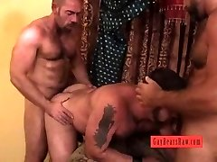 Moist hairy men threesome  action