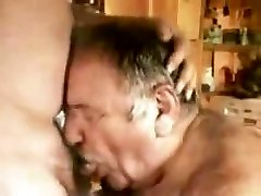 A younger men throating aged mature men