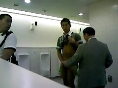 Man faps of in public toilet for audience