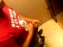 Filming a pal wanking his fat uncircumcised black dick in the university bathroo