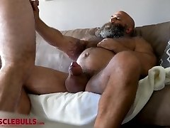 HAIRY MUSCLE BEAR STROKES BIG FAT COCK UNTIL SHOOTING A Massive Stream