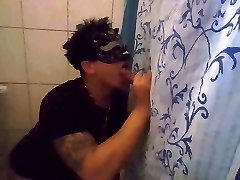 My first-ever blowjob on homemade Gloryhole