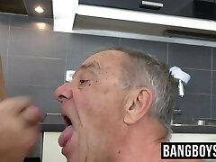 Grandpa gives him a blowjob and rimjob before swallowing cum