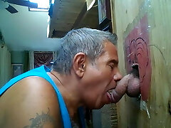 Older man at his gloryhole worships dinky