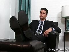 Classy jock in suit enjoying is some sloppy feet throating
