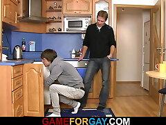 Hetero plumber sucks and rails his gay cock