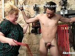 Phat Mature Bitch Ties Up and Sucks a Twink - CFNM
