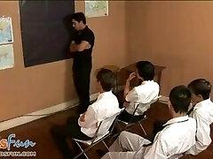 Cute twunk schoolgirls team up to blow their teacher