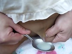 Cumshot in spoon and drink to swallow my pearl juice 001