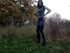Sandralein33 Smoking Punk Chick in Miniskirt and Lackleggins