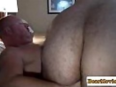 Mature tatted grizzly facializing hairy bottom