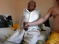 Old man smashing the huge