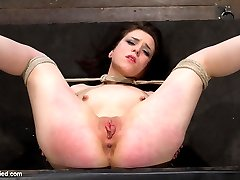 pCute tight Juliette is bound pile driver with legs spread on the floor and knees bound to her...