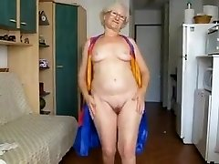 65 Yr. Aged Grandma Hamming It Up On Cam