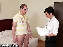 MommyBB Busty euro MILF Maid sucks the hotel customer
