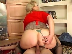 Russian buxom maid fucked by young dude at home