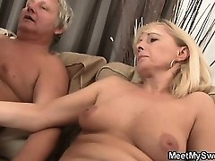 Promiscuous bi-atch rides his father's dick