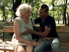 Horny granny Norma blows rigid dick of a horny man after kissing