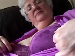 Granny with massive mammories upskirt no panties tease