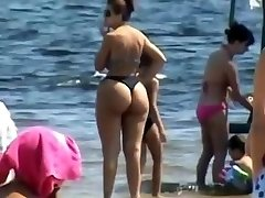 Spying Mom - Plumper Butt - Beach voyeur - Candid Big Arse - Plump Granny