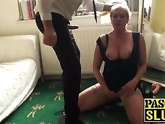 Sexy light-haired mature deepthroats and gets torn up by a fat cock