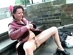 Mature Brit Woman Urinating In Public