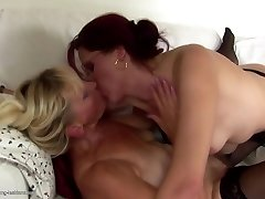Granny and MILF fuck and urinate on each other