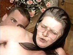 Fur Covered Grandma in Glasses and Scarf Fucked