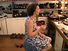 Brunette granny is porked upskirt from behind in POV