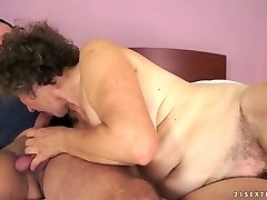 Old biotch Kata takes young dick in her ugly old vagina