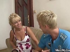 Lovely ash-blonde girl involved into not family 3some