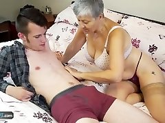 Elderly lady Savana plowed by student Sam Bourne by AgedLove