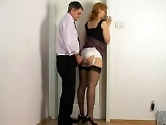 Fumbling against secretary satin undies