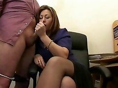 Scorching Mature Assistant Jerks The Jizz From Bosses Cock !