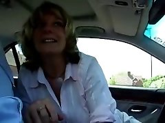 Mature assistant cheats with her boss at the car