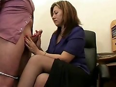 Hot Mature Assistant Jerks The Jism From Bosses Cock !