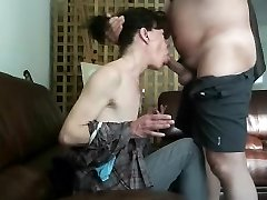 My boss face-fucking his dirty mature wife with his senior knob