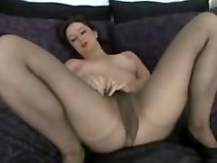 Lovely Talkative Milf in Tights Fingers