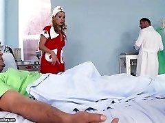 Beutiful Nurse fellates doctor and patients penis buttfuck gape