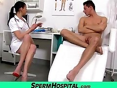 Bossy head nurse milf Renate tugjob with young masculine