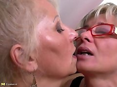 Perfect mature mothers at all girl threesome