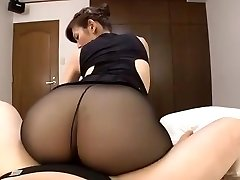 Japanese mature ebony pantyhose bang-out