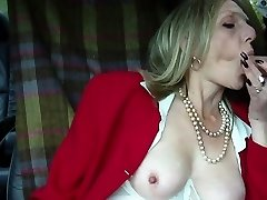Steamy mature towheaded smoking blowjob