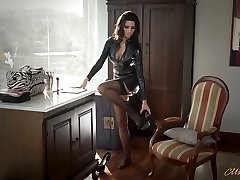Wondrous  mommy in latex Ania Kinski gets drilled properly