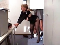 Office Grandma Fucked  in stockings
