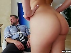 Tied up mature man gets gargle oral pleasure by Aidra Fox